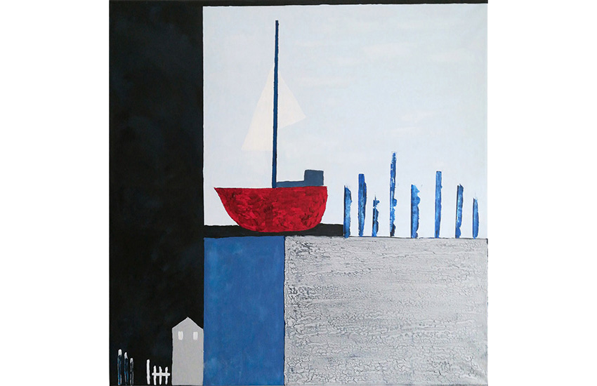Abstraktes Segelmotiv 70×70 cm