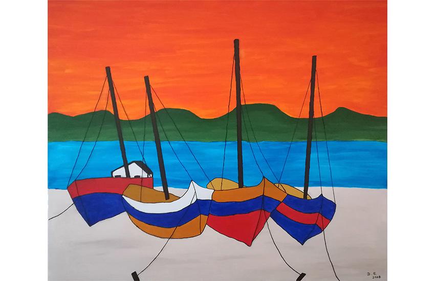 Segelboote am Nil 60×70 cm