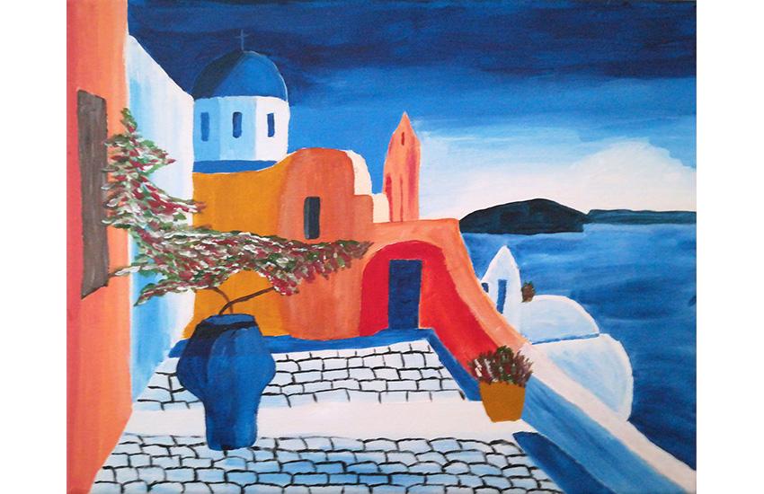 Blick auf Santorini  30×40 cm