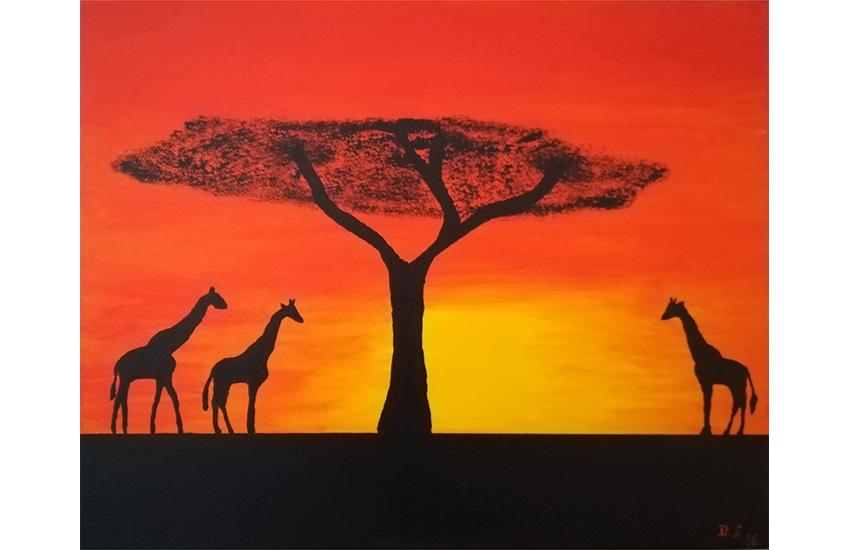 Giraffen am Abend 40×50 cm