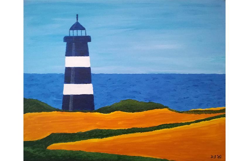 Leuchtturm am Strand 40×50 cm