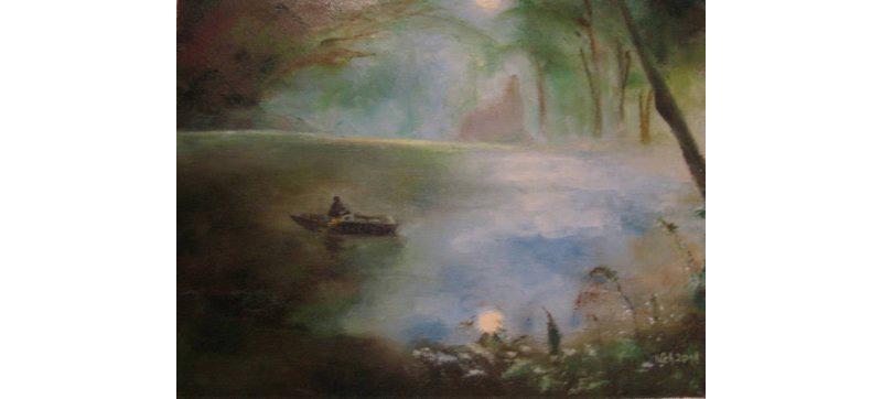 Abendstimmung am See, Öl auf Leinen, 50×40 cm