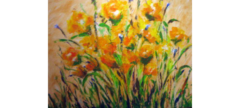 Blumen, Acryl auf Leinen, 80×60 cm