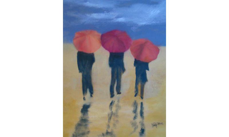 Drei Schirme am Strand, Öl auf Leinen, 30×40 cm
