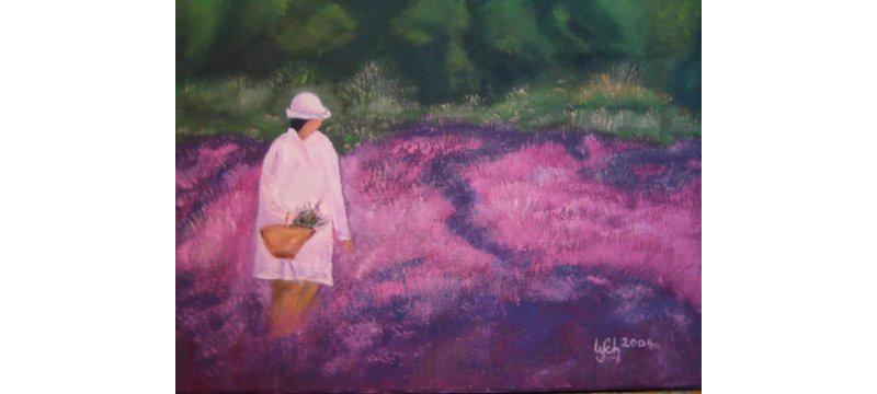 Frau im Lavendelfeld, Öl auf Leinen, 40×30 cm