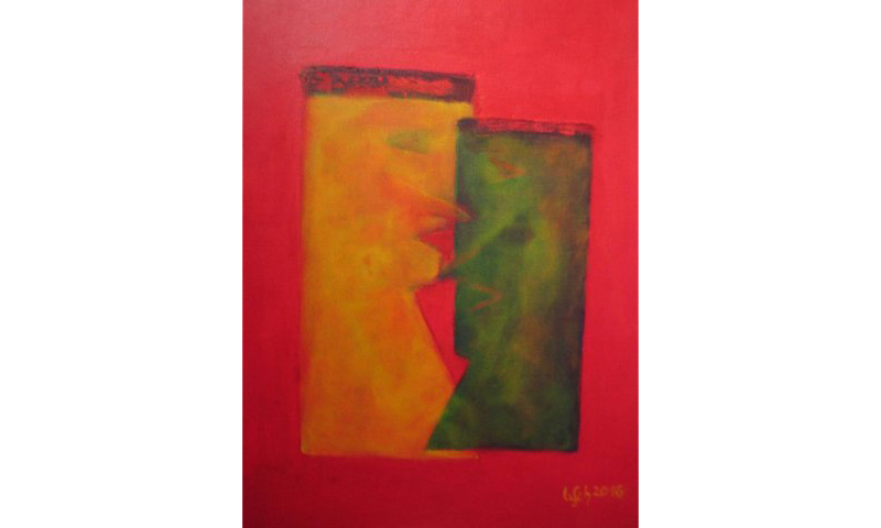 Gesichter – face to face, Acryl auf Leinen, 40×50 cm