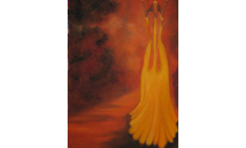 Tänzerin, Öl auf Leinen, 50×70 cm
