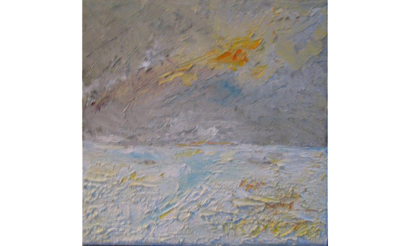 Vier Jahreszeiten – Winter, Acryl auf Leinen, 20×20 cm