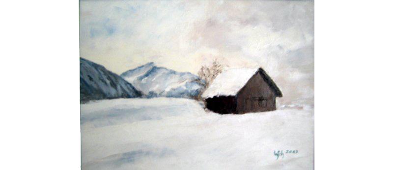 Winterlandschaft, Öl auf Leinen, 40×30 cm